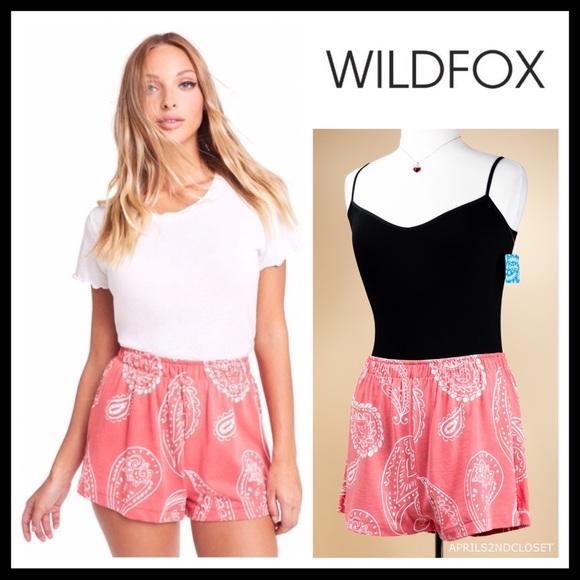 Wildfox Pants - WILDFOX RED BOHO PRINT KNIT JERSEY SHORTS A3C